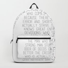 The Man In The Arena by Theodore Roosevelt 2 #minimalism Backpack