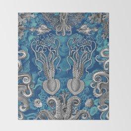 The Kraken (Blue - No Text) Throw Blanket