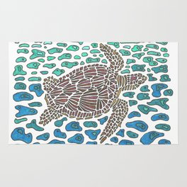 Vanishing Sea Turtle by Black Dwarf Designs Rug