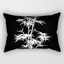 Black and White Bamboo Silhouette Rectangular Pillow
