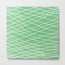Sage Slanting Brush Strokes Metal Print