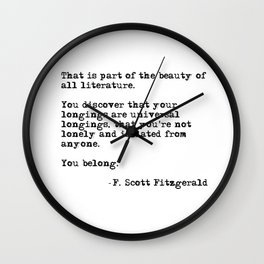 The beauty of all literature - F Scott Fitzgerald Wall Clock