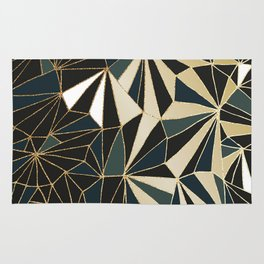 New Art Deco Geometric Pattern - Emerald green and Gold Rug