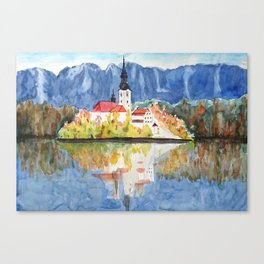 Church of the Assumption in Lake Bled Slovenia Canvas Print