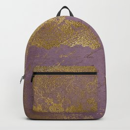 Romantic Bridal lace - Gold floral elegant lace on old purple paper Backpack