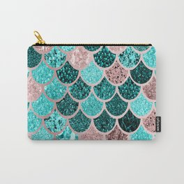 Mermaid Tail Scales Pattern, Aqua, Teal, Pink Carry-All Pouch