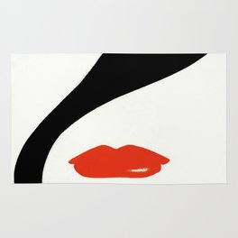 Retro Fashion Model with Stylish Hair and Red Lipstick Rug