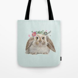 Spring Bunny with Floral Crown Tote Bag