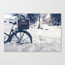 Milk Crate on Bike in Snow Canvas Print