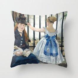 Edouard Manet - Le Chemin de fer (The Railroad) Throw Pillow