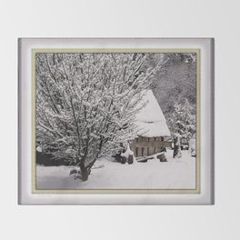 OLD SHED IN SNOW Throw Blanket