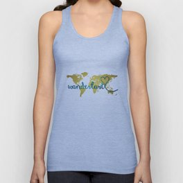 Wanderlust Gold Foil Map with Teal Glitter Text Unisex Tank Top