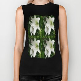 White Crinum Lilies 1 2x2 Green Damask Biker Tank