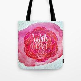 With Love - Boho Watercolor Mandala Tote Bag