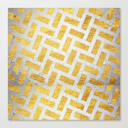 Brick Pattern 1 in Gold and Silver Canvas Print