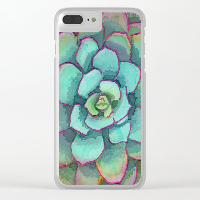 Sunset Succulent Clear iPhone Case