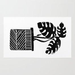 Linocut cheese plant monstera tropical leaf lino print black and white illustration art home dorm  Rug