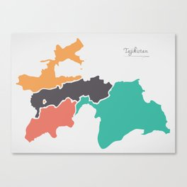 Tajikistan Map with states and modern round shapes Canvas Print
