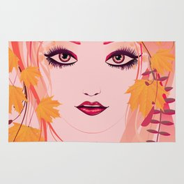 Autumn floral girl Rug