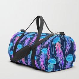 Luminescent Rainbow Jellyfish on Navy Blue Duffle Bag