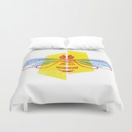 Be Safe - Save Bees linocut Duvet Cover