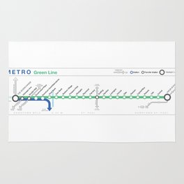 Twin Cities METRO Green Line Map Rug