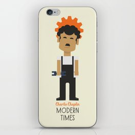 "Charlie Chaplin ""Modern Times"" movie poster, fine Art print, classic film with Paulette Goddard iPhone Skin"