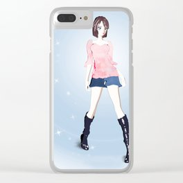 Anime Girl Standing Pose Clear iPhone Case