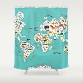 World map shower curtains society6 cartoon animal world map for children and kids animals from all over the world shower gumiabroncs Images