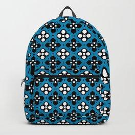 Ornate Blue & Black Flower Pattern Backpack