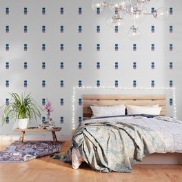 Nordic Blue Flower Wallpaper