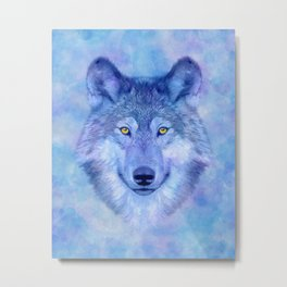 Sky blue wolf with Golden eyes Metal Print