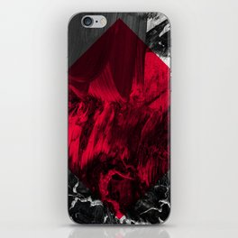Waves // black and white abstract painting w/ red diamond iPhone Skin