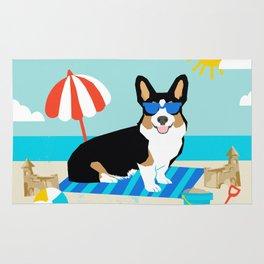 Tri Corgi Sandcastles Summer Beach Day sun corgi art tricolored corgi dog Rug