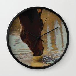 The Watering Hole  - Drinking Percheron Horse Wall Clock
