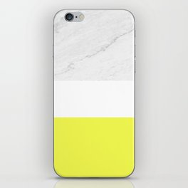 Marble yellow stripes iPhone Skin