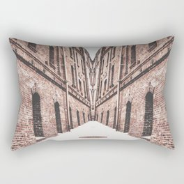 walkway in the middle of the brown brick buildings Rectangular Pillow