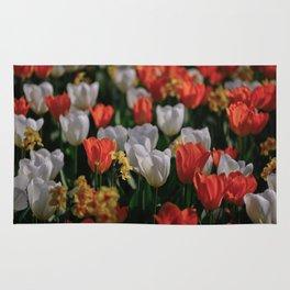 Colorful White and Orange Tulip Carpet Rug