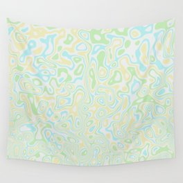 Blue Yellow and Green Swirls Wall Tapestry