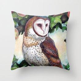 Barn Owl in Apple Tree Throw Pillow