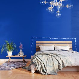Blueberry Blue - Simple Solid Color All Over Print Wallpaper