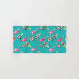 Flamingo floral pink and teal Hand & Bath Towel