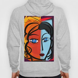 Red Blue Pop Girl Portrait Expressionist Art Hoody