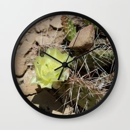 Cactus with Yellow Flower Wall Clock