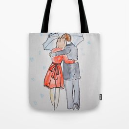 lovers in the rain Tote Bag
