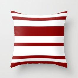 Mixed Horizontal Stripes - White and Dark Red Throw Pillow