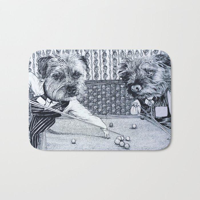 Terriers playing snooker Bath Mat