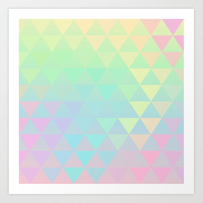 Holographic geometric vector background  80s and 90s fashion design Art  Print