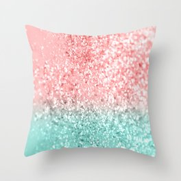 Summer Vibes Glitter #3 #coral #mint #shiny #decor #art #society6 Throw Pillow