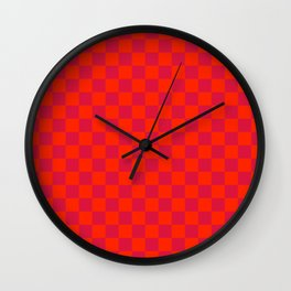 Scarlet Red and Crimson Red Checkerboard Wall Clock